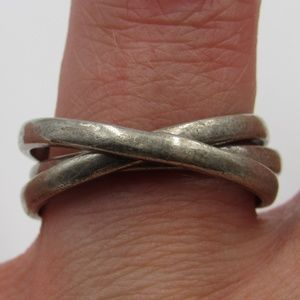 Vintage Size 8 Sterling Rustic Triple Band Rings